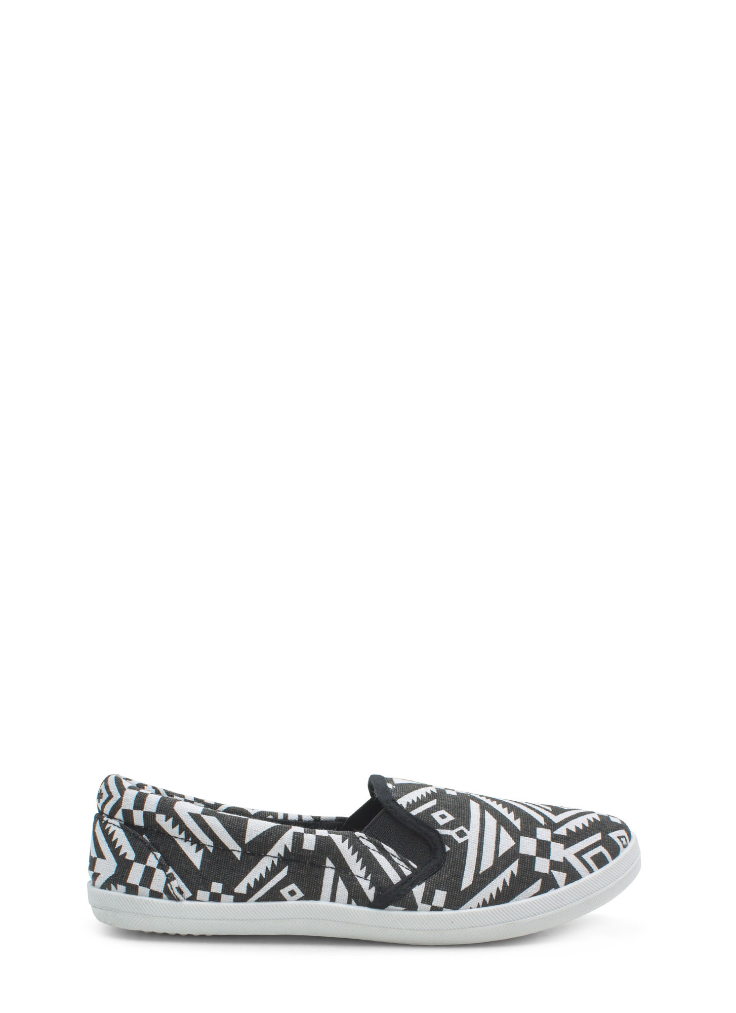 Geo-Tribal Magic Slip-On Sneakers BLACKWHITE