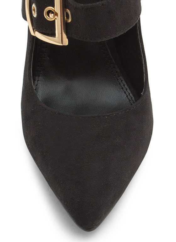 Pointy Tri-Buckle Heels BLACK