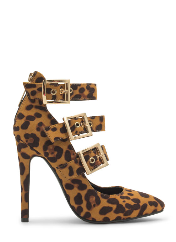 Pointy Tri-Buckle Heels LEOPARD