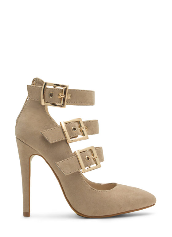 Pointy Tri-Buckle Heels NUDE