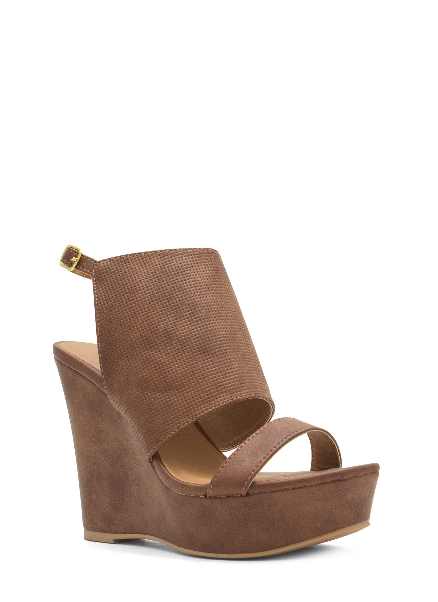 Shield Of Approval Textured Wedges COGNAC