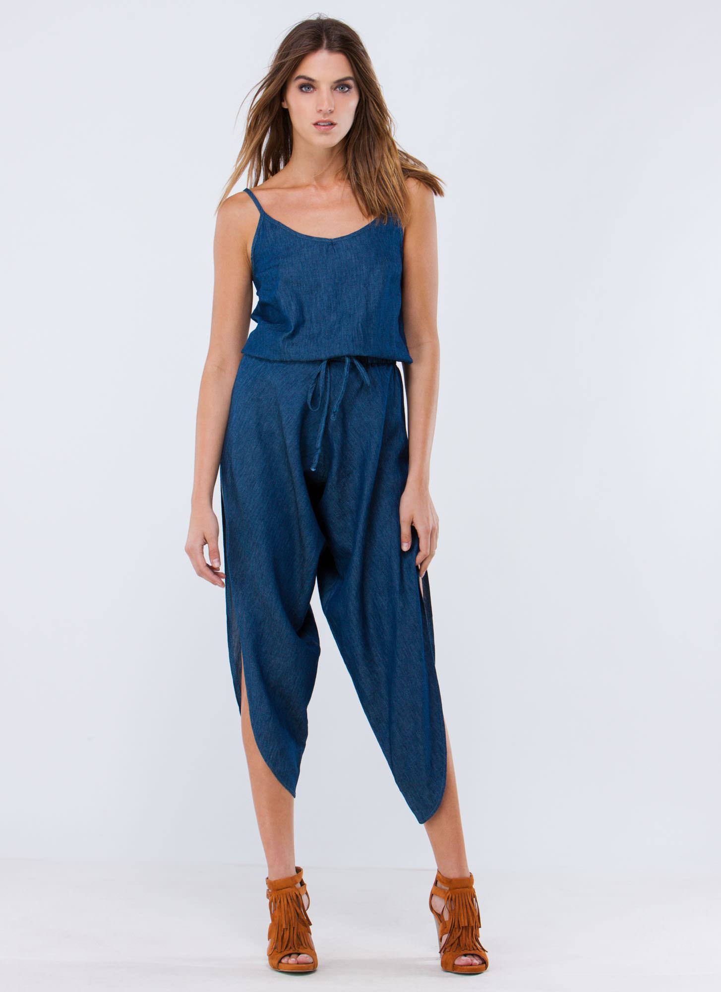 Time To Split Leg Chambray Jumpsuit BLUE