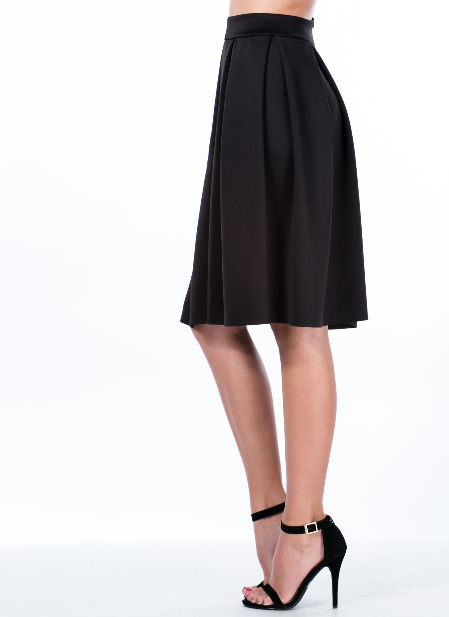 Pleats And Thank You A-Line Skirt BLACK