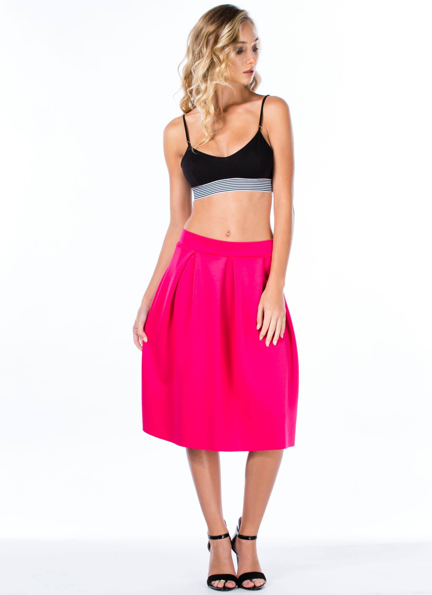 Pleats And Thank You A-Line Skirt FUCHSIA