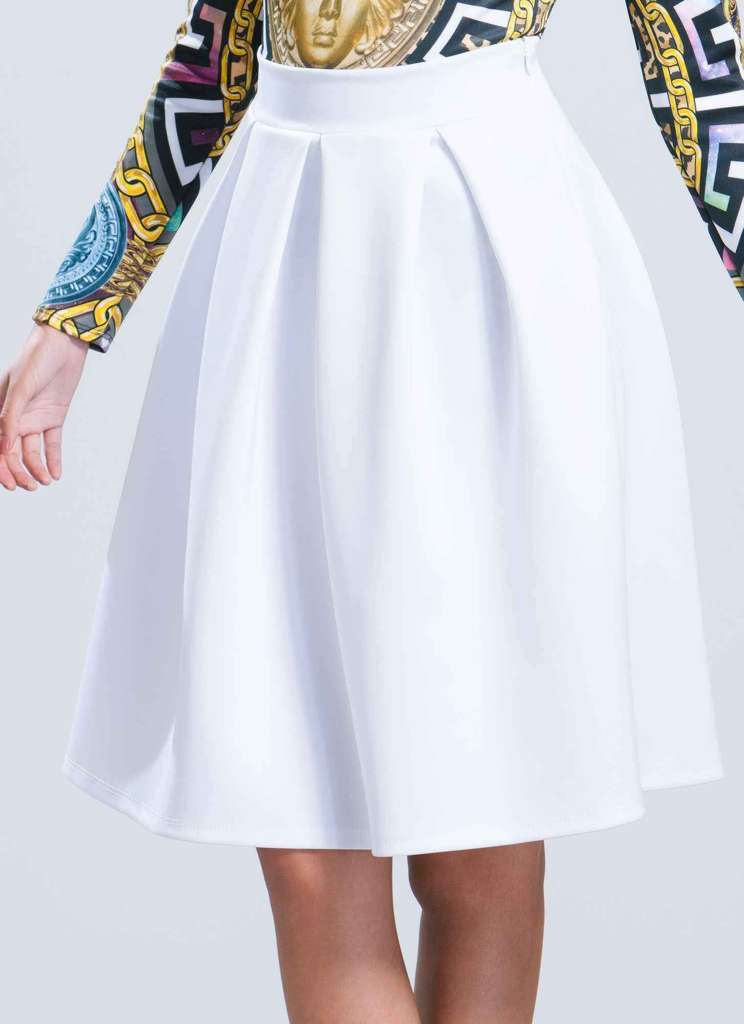 Pleats And Thank You A-Line Skirt WHITE