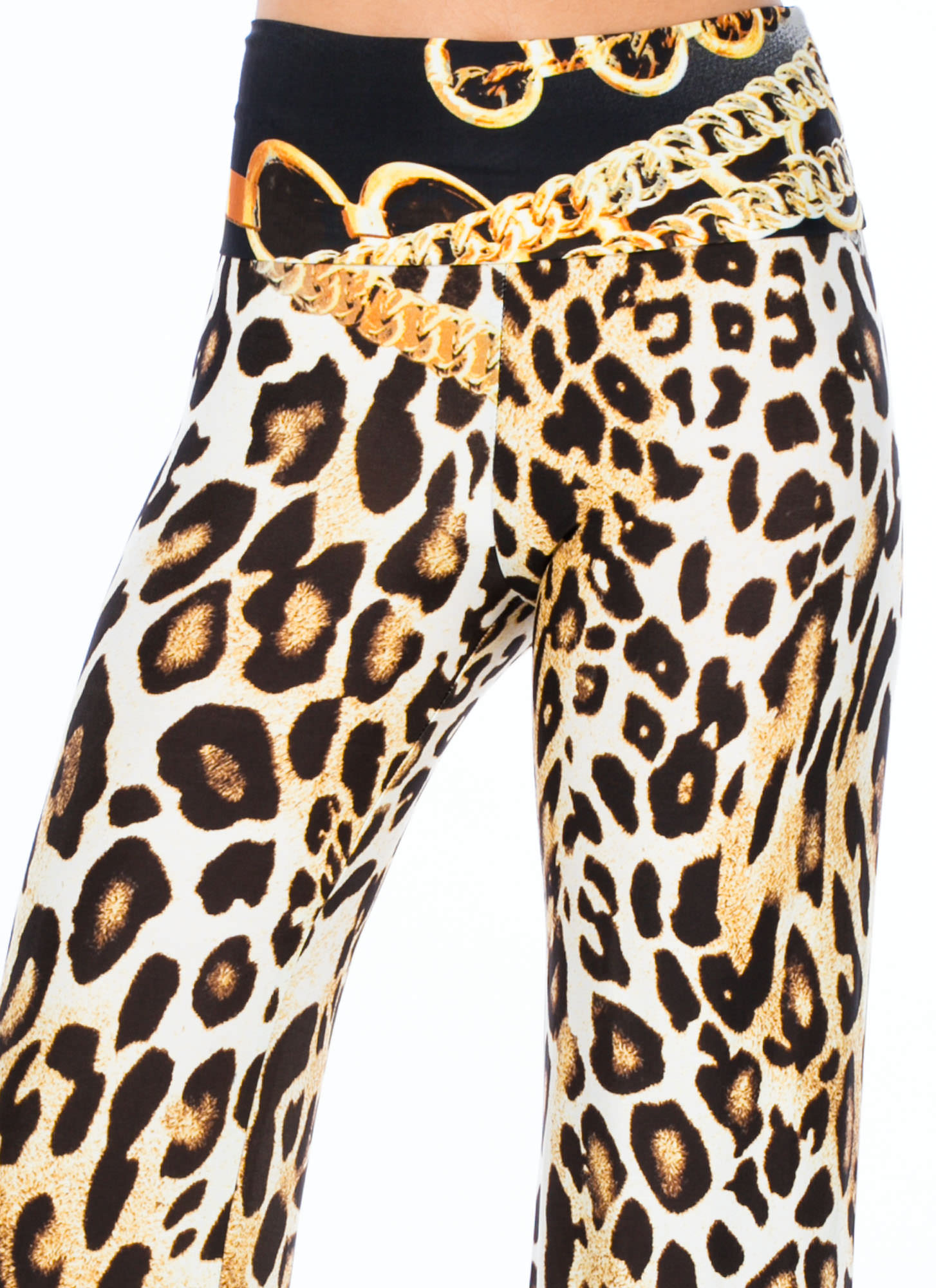 Chained Animal Leopard Palazzo Pants GOLD