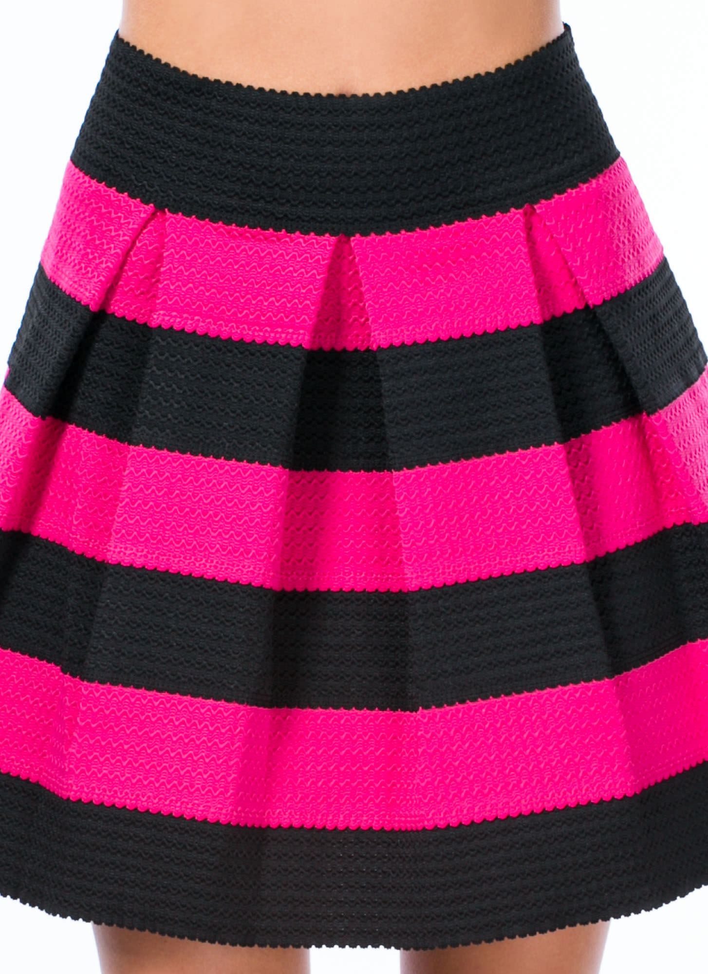 Contrast Striped Skater Skirt FUCHSIA