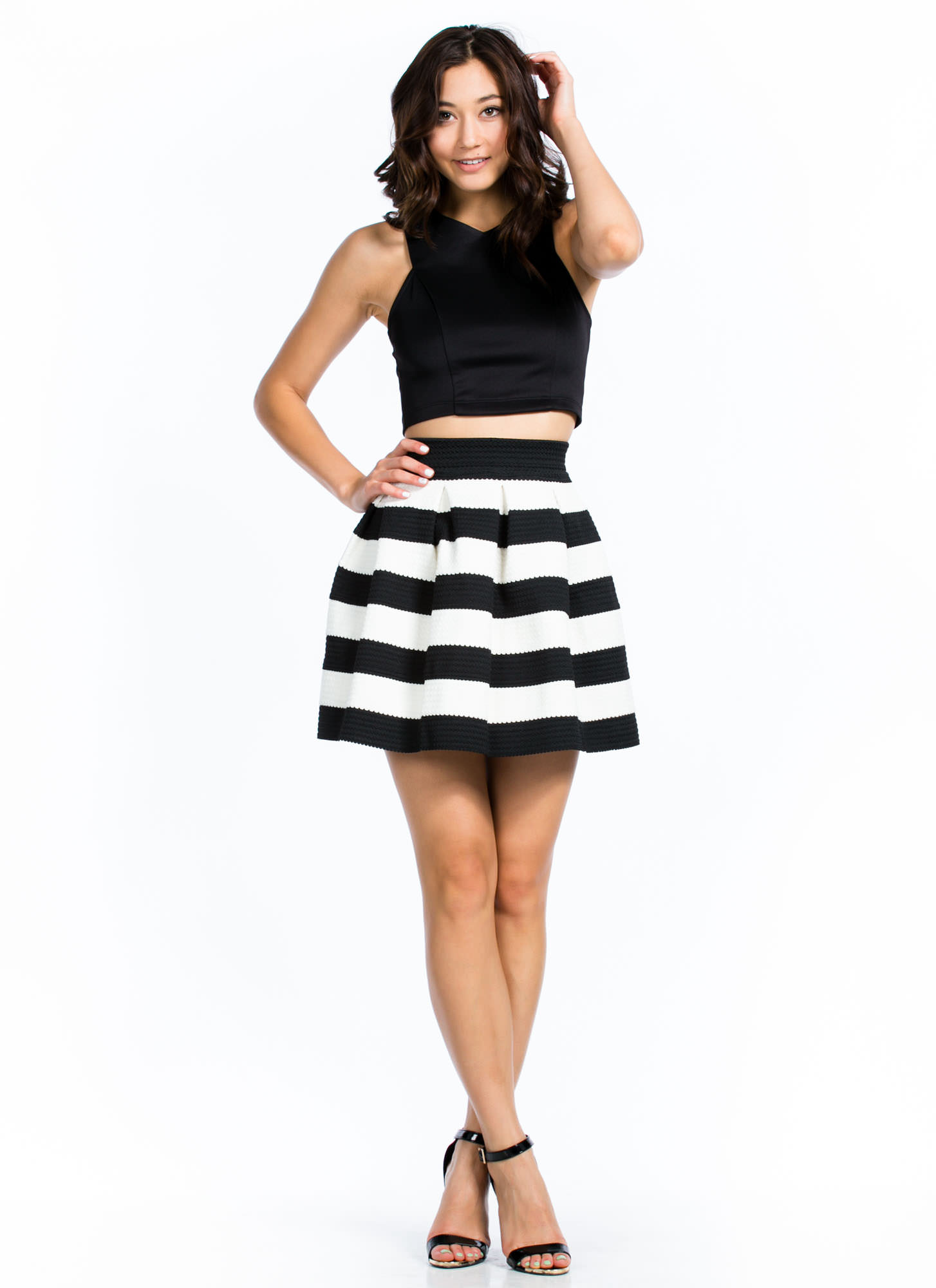 Contrast Striped Skater Skirt WHITE