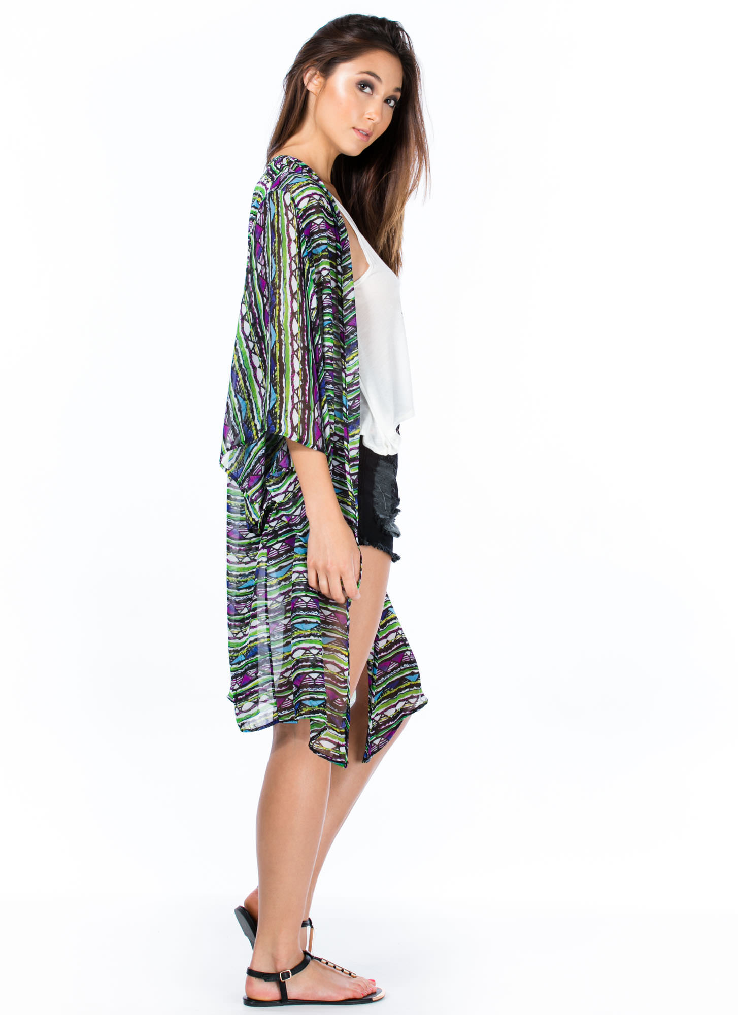 Tribe And True Triangle Print Kimono GREENPURPLE