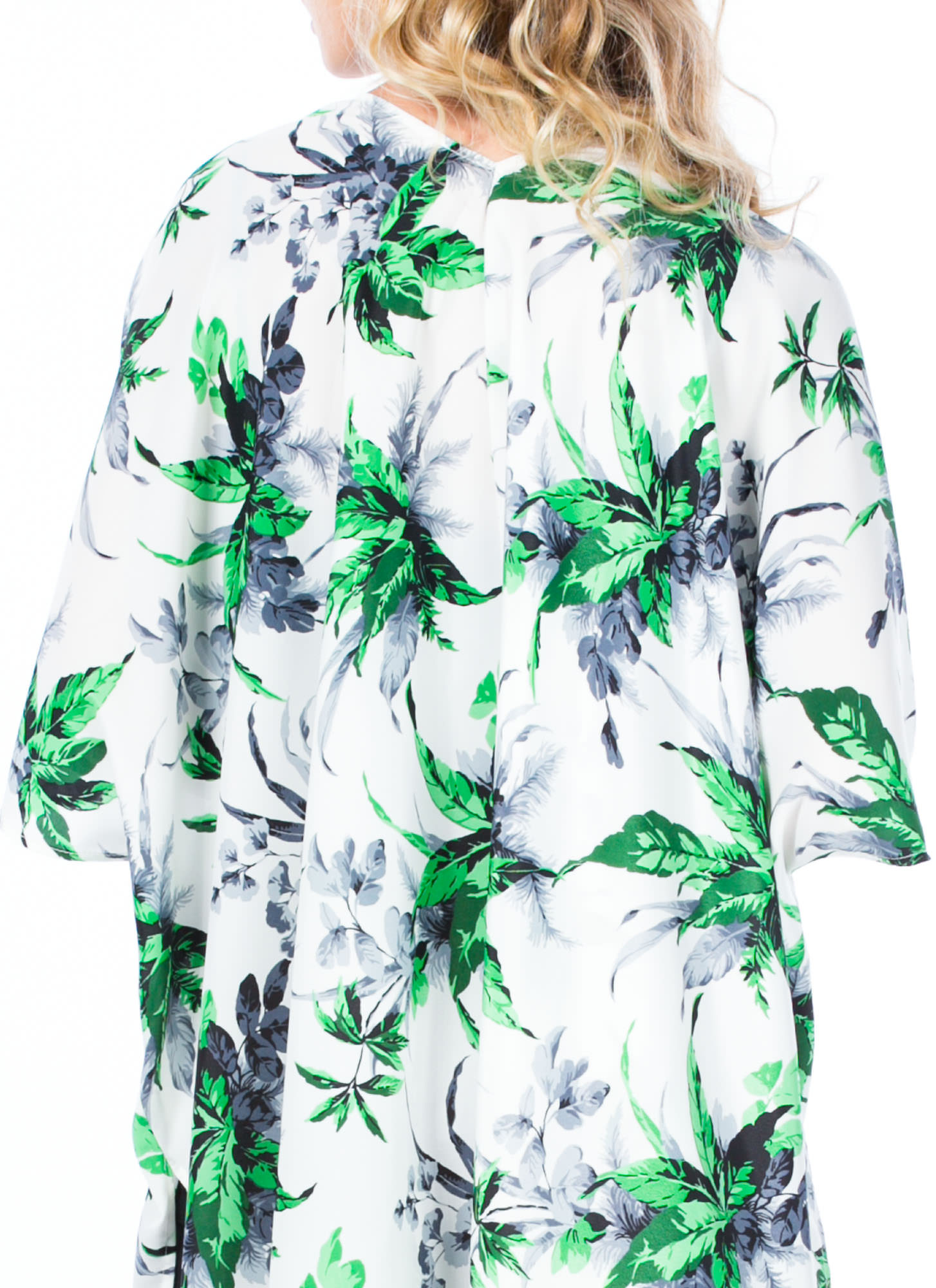 Tropical Leaves Printed Kimono WHITEGREEN