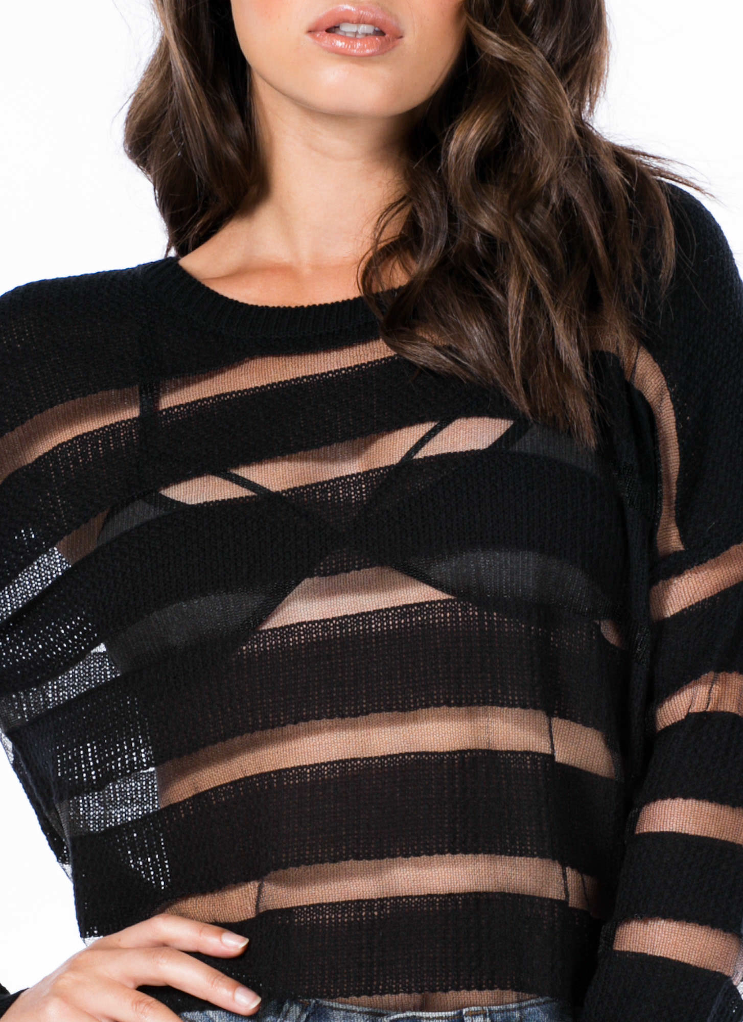 Sheer Thing Striped Sweater BLACK