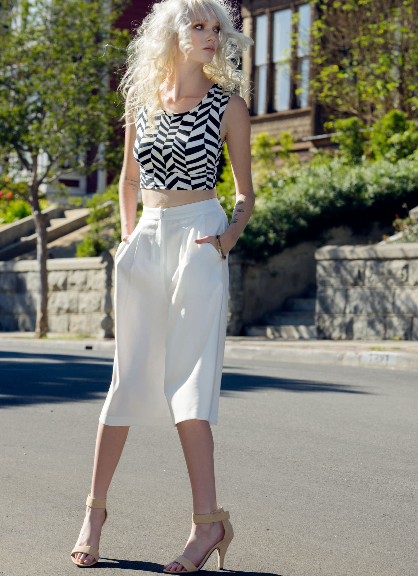 Textured Pleated Culottes WHITE