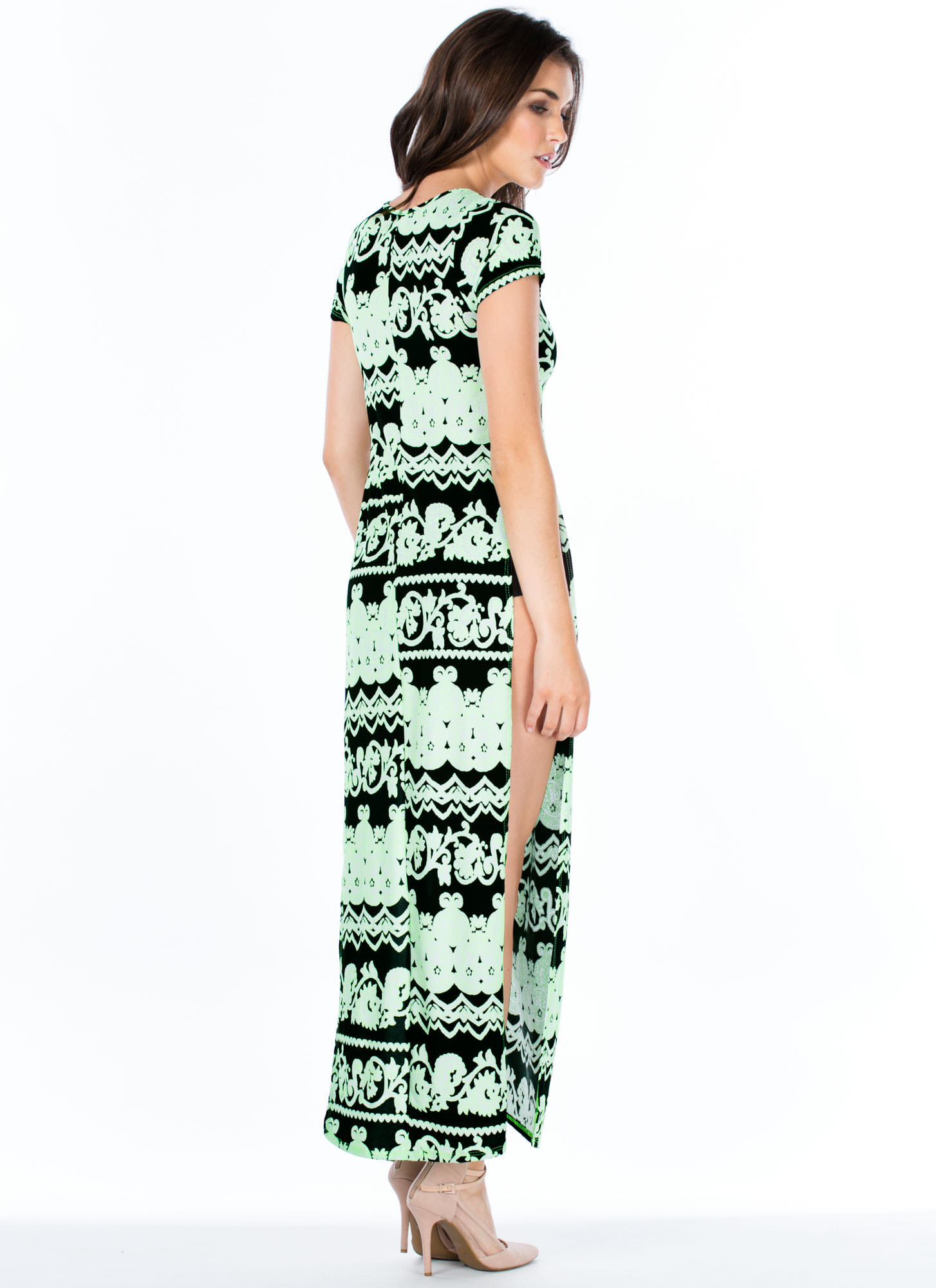 Neon Filigree Double Slit Maxi Dress NEONGREEN