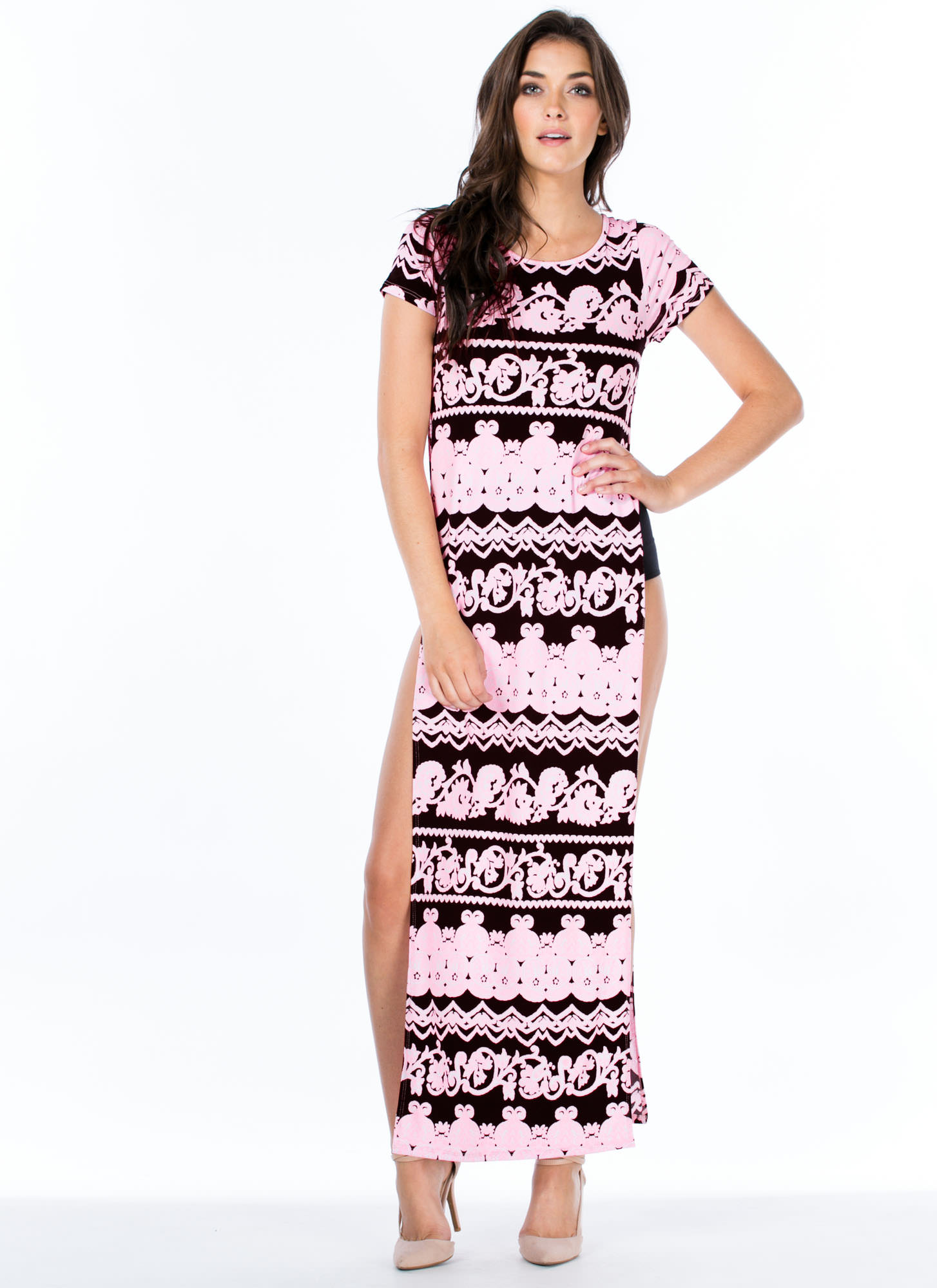 Neon Filigree Double Slit Maxi Dress NEONPINK