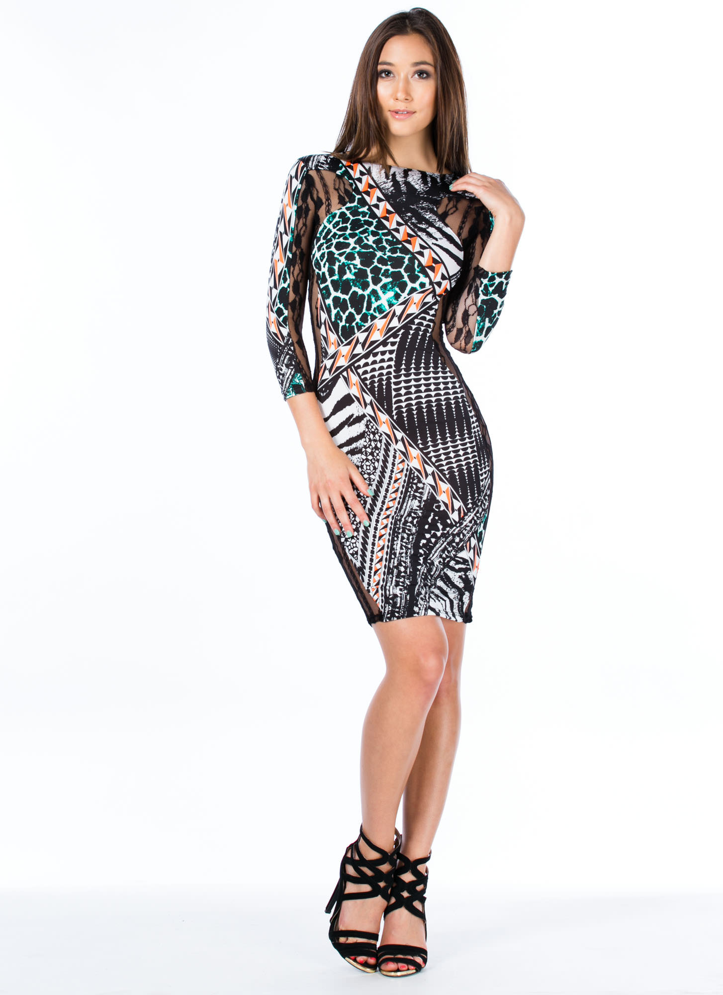 Lace The Facts Geo Hourglass Dress BLACK