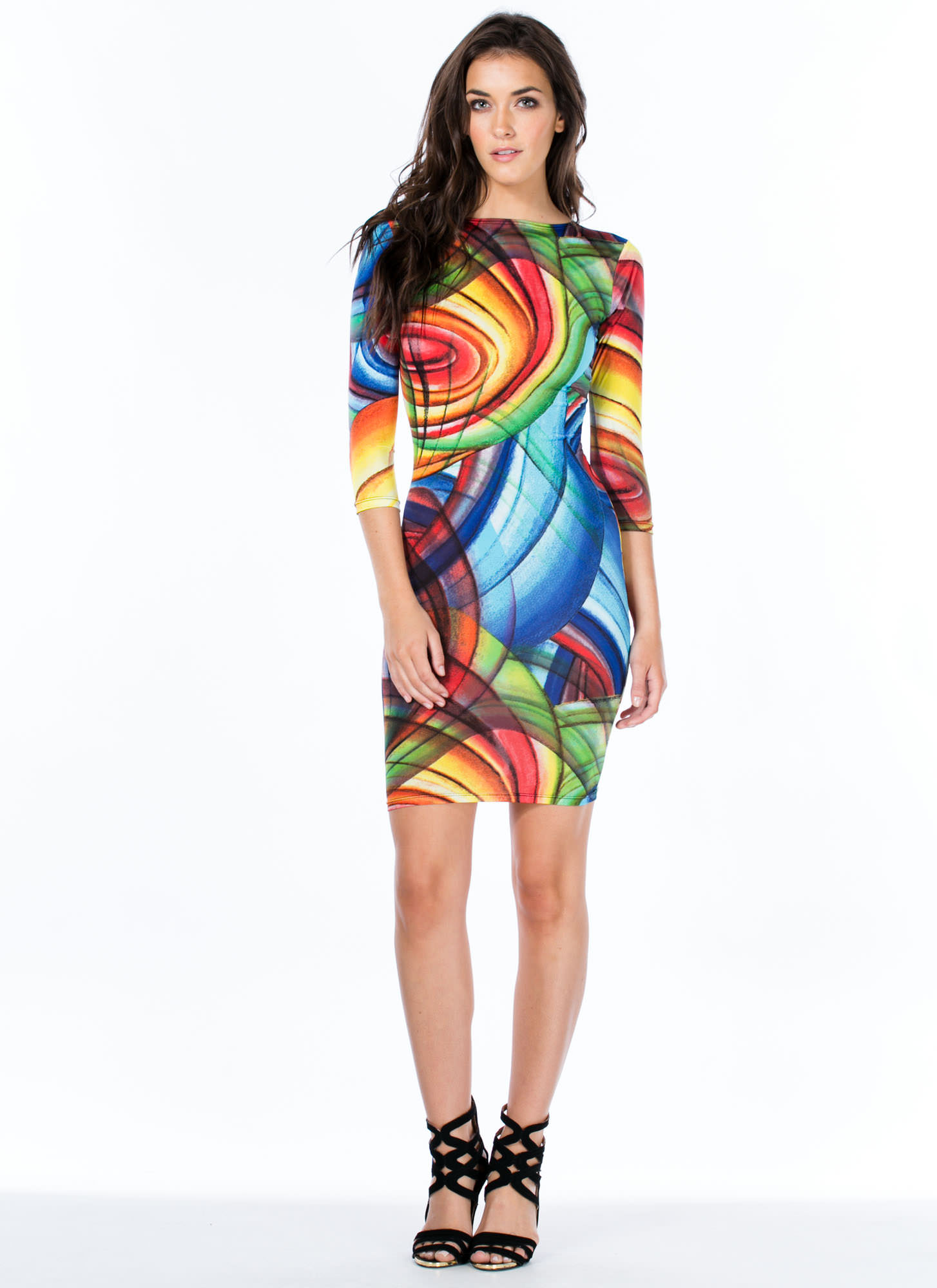 Give It A Swirl Bodycon Dress MULTI