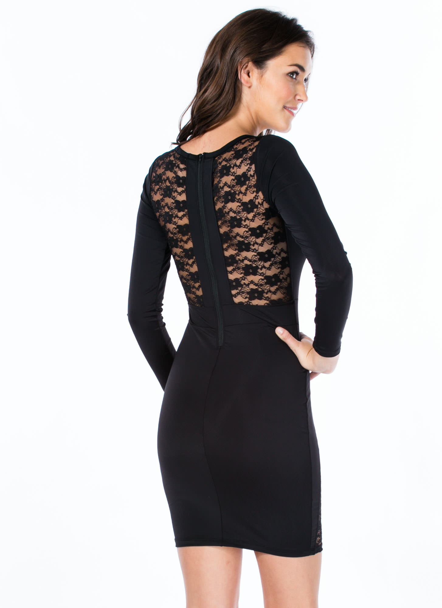 Lace 2 The Finish Bodycon Dress BLACK