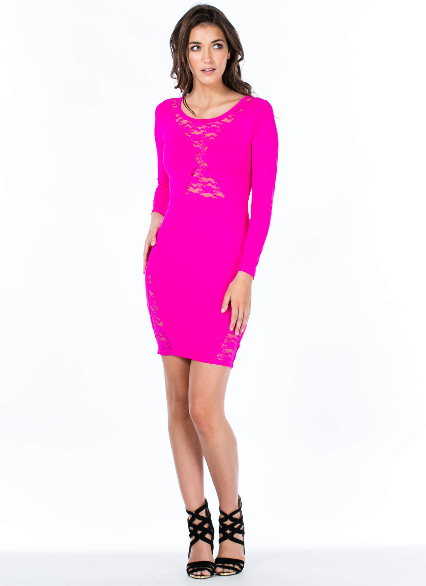 Lace 2 The Finish Bodycon Dress FUCHSIA