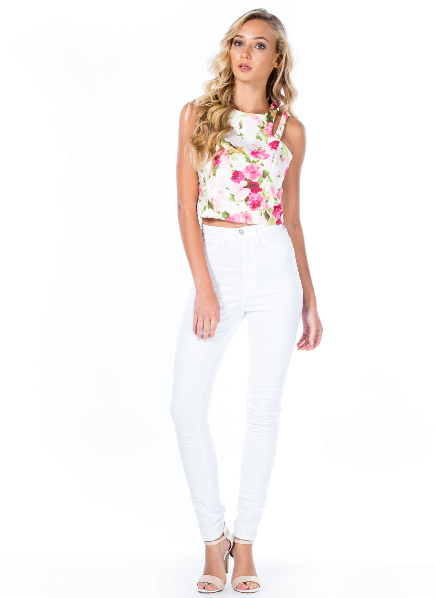 Pretty Please Floral Cropped Tank PINK