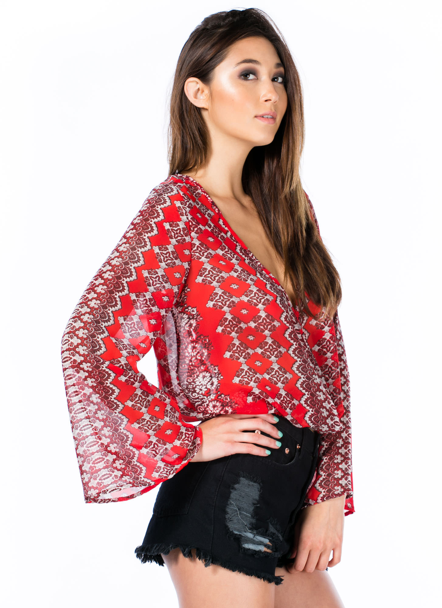 Moroccan Getaway Surplice Cropped Top RED