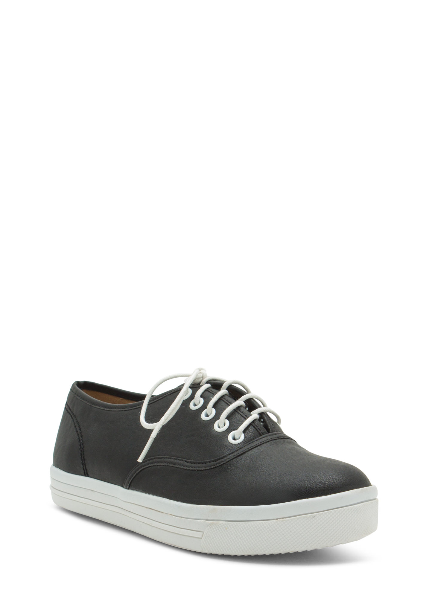 Rock Out Faux Leather Platform Sneakers BLACK