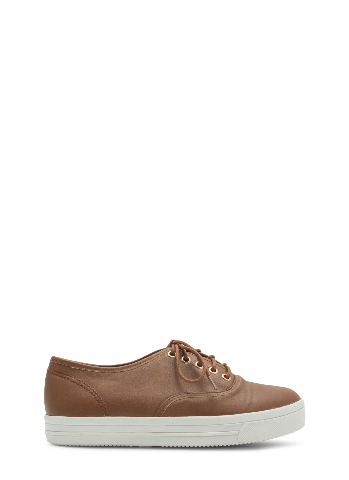 Rock Out Faux Leather Platform Sneakers CHESTNUT