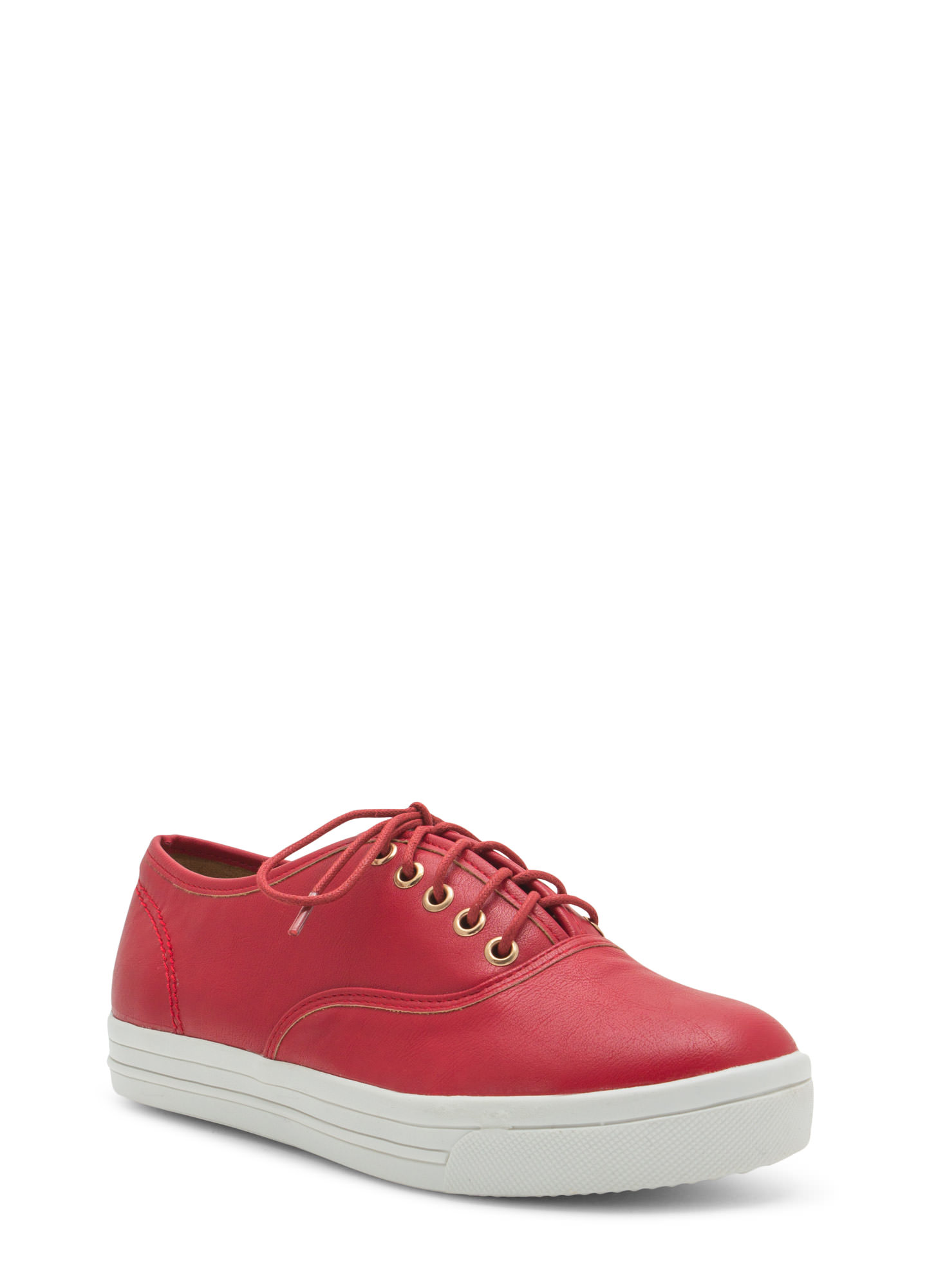 Rock Out Faux Leather Platform Sneakers RED