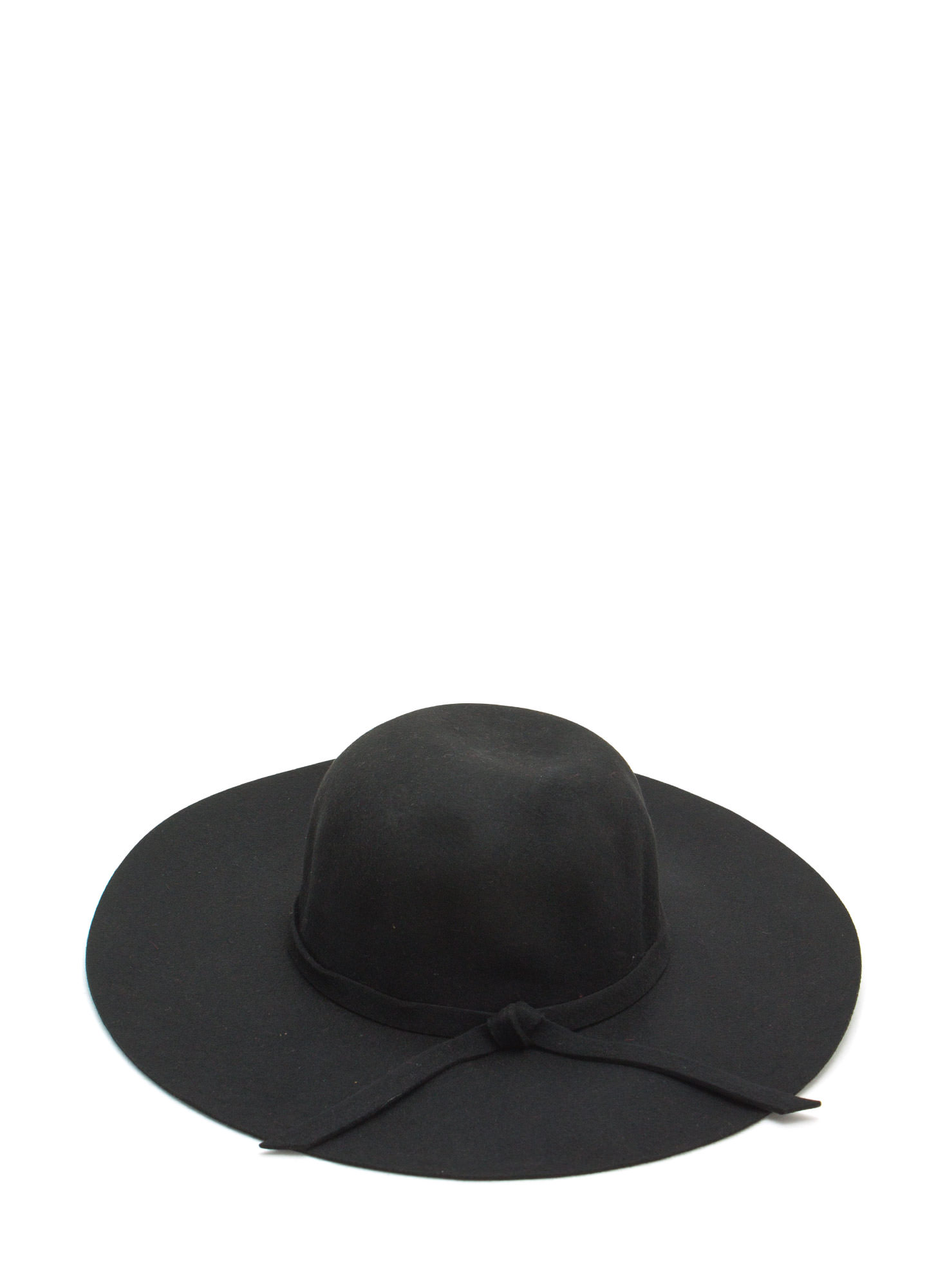 Tied Wool Wide Brim Hat BLACK