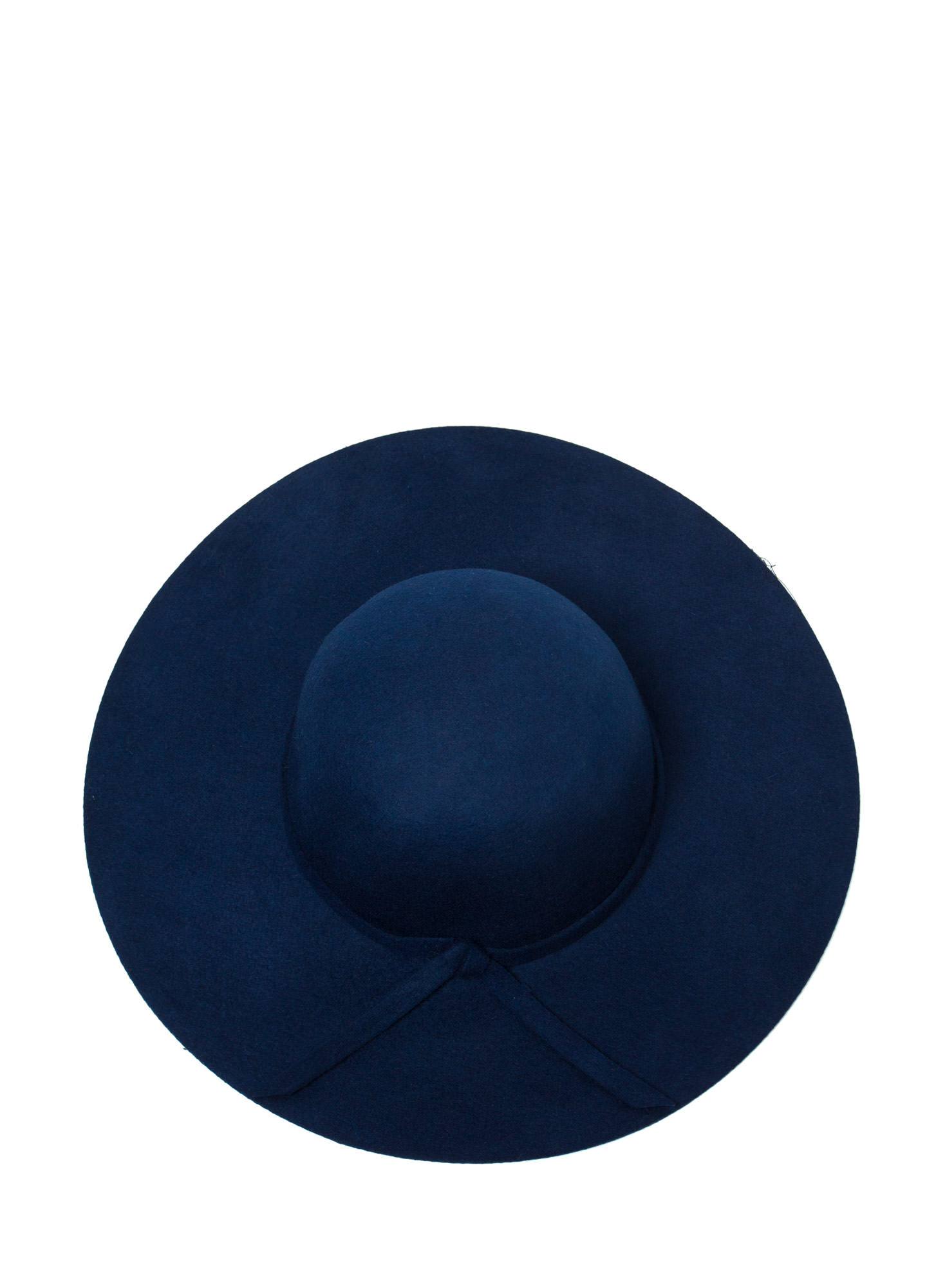Tied Wool Wide Brim Hat BLUE
