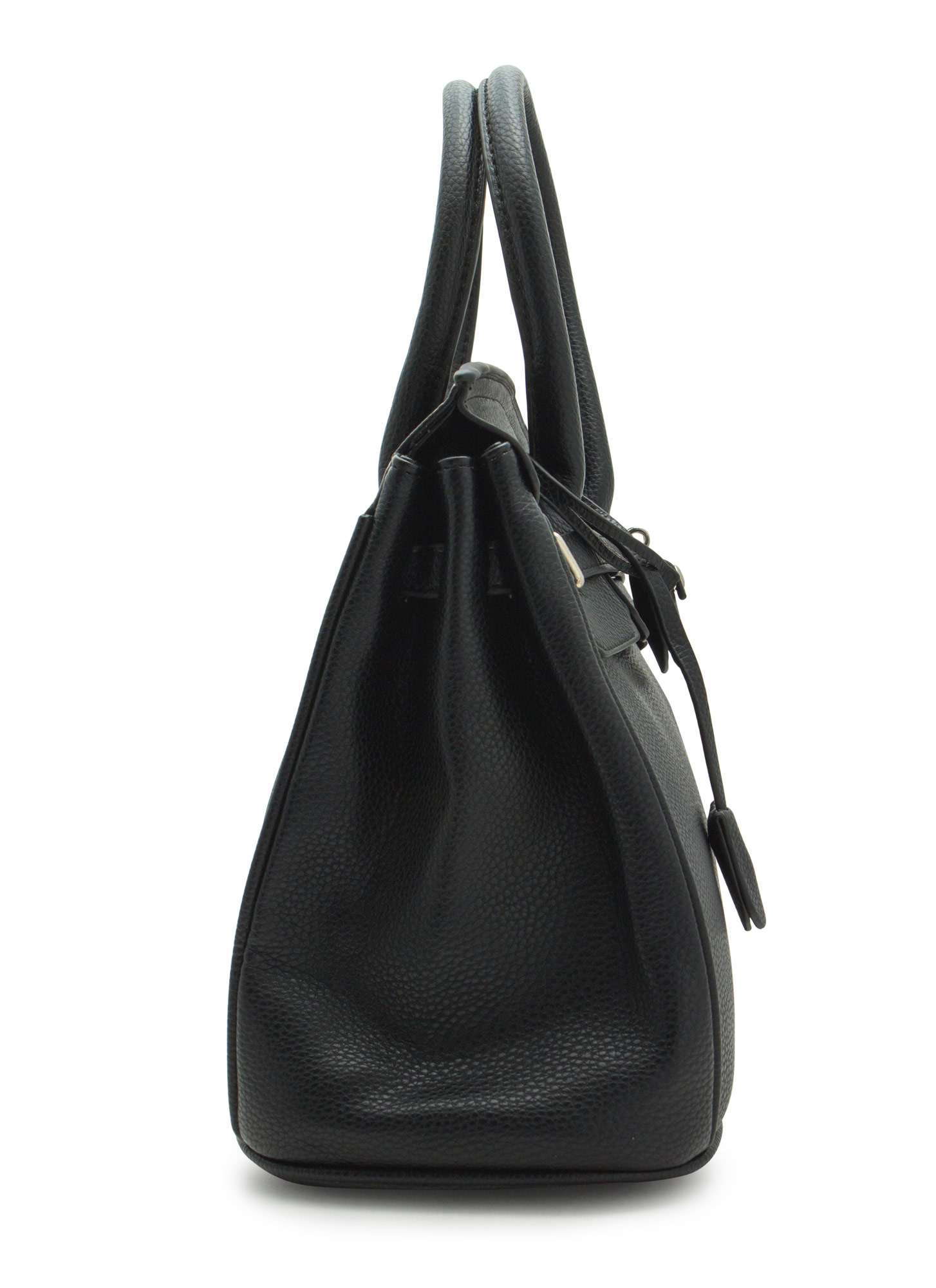 Locked Up Pebbled Faux Leather Satchel BLACK