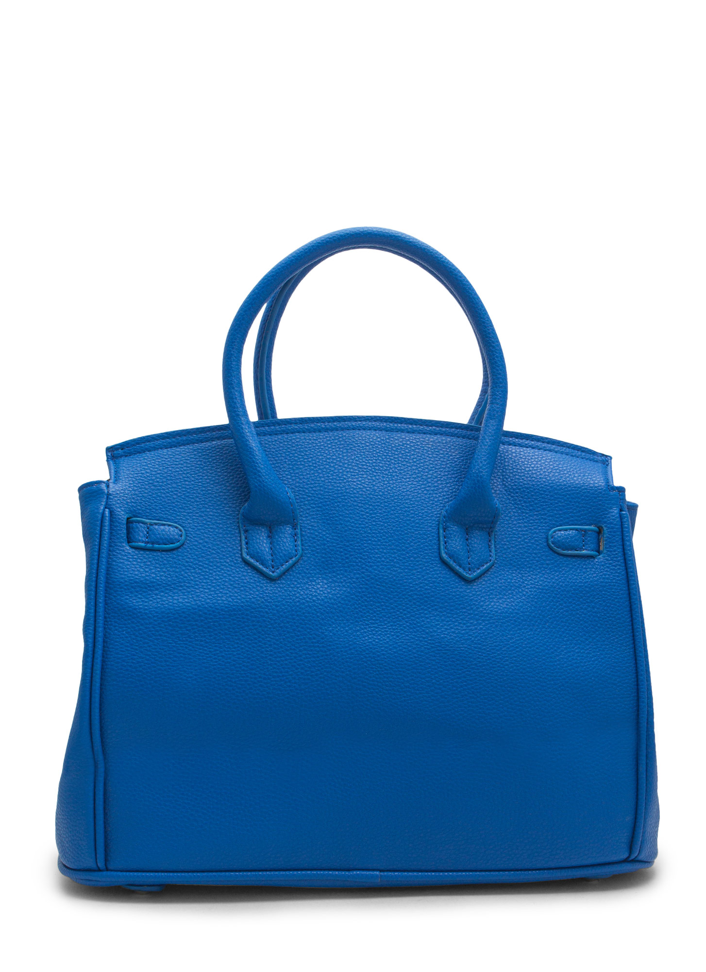 Locked Up Pebbled Faux Leather Satchel BLUE