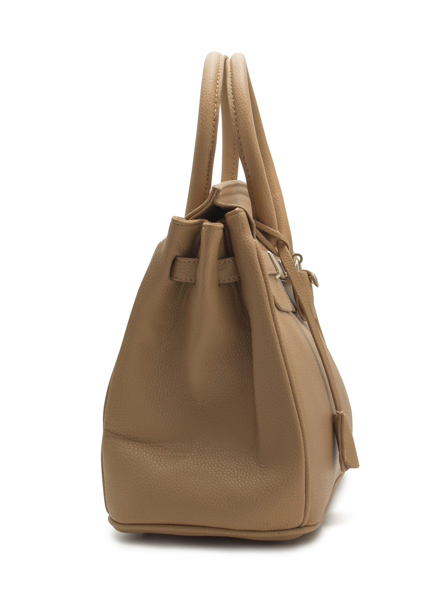 Locked Up Pebbled Faux Leather Satchel KHAKI
