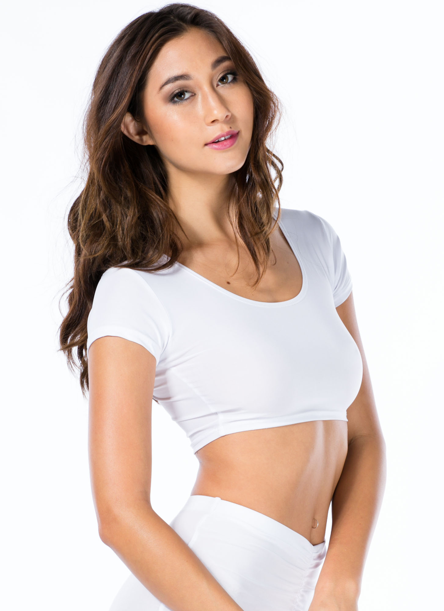 Sleek Attack Short Sleeve Cropped Top WHITE