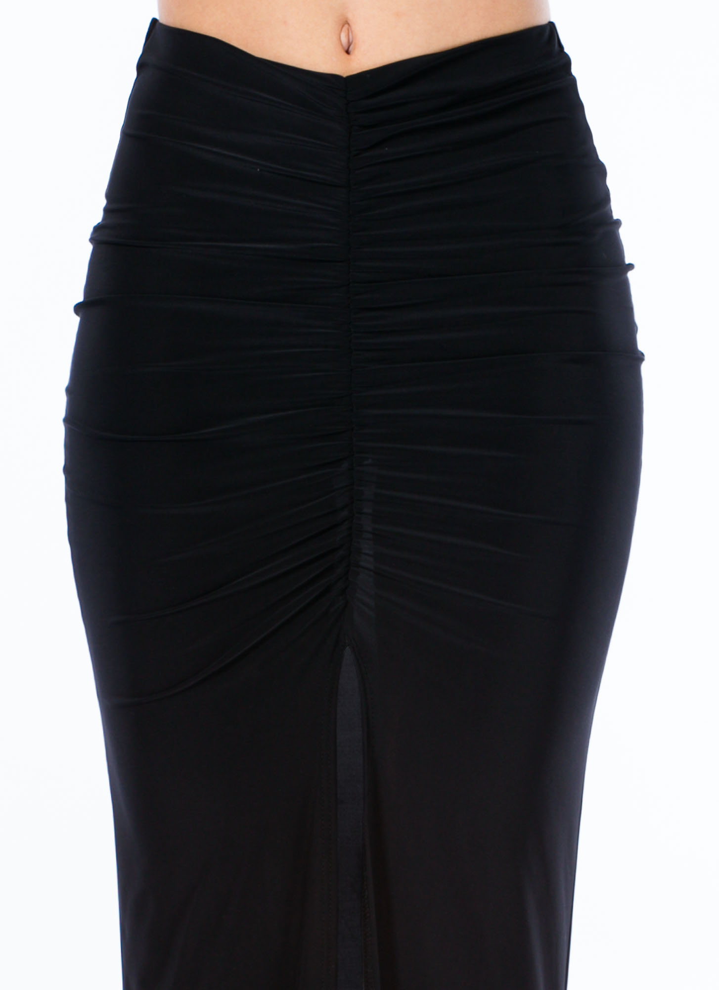 Sleek Attack Ruched Slit Maxi Skirt BLACK