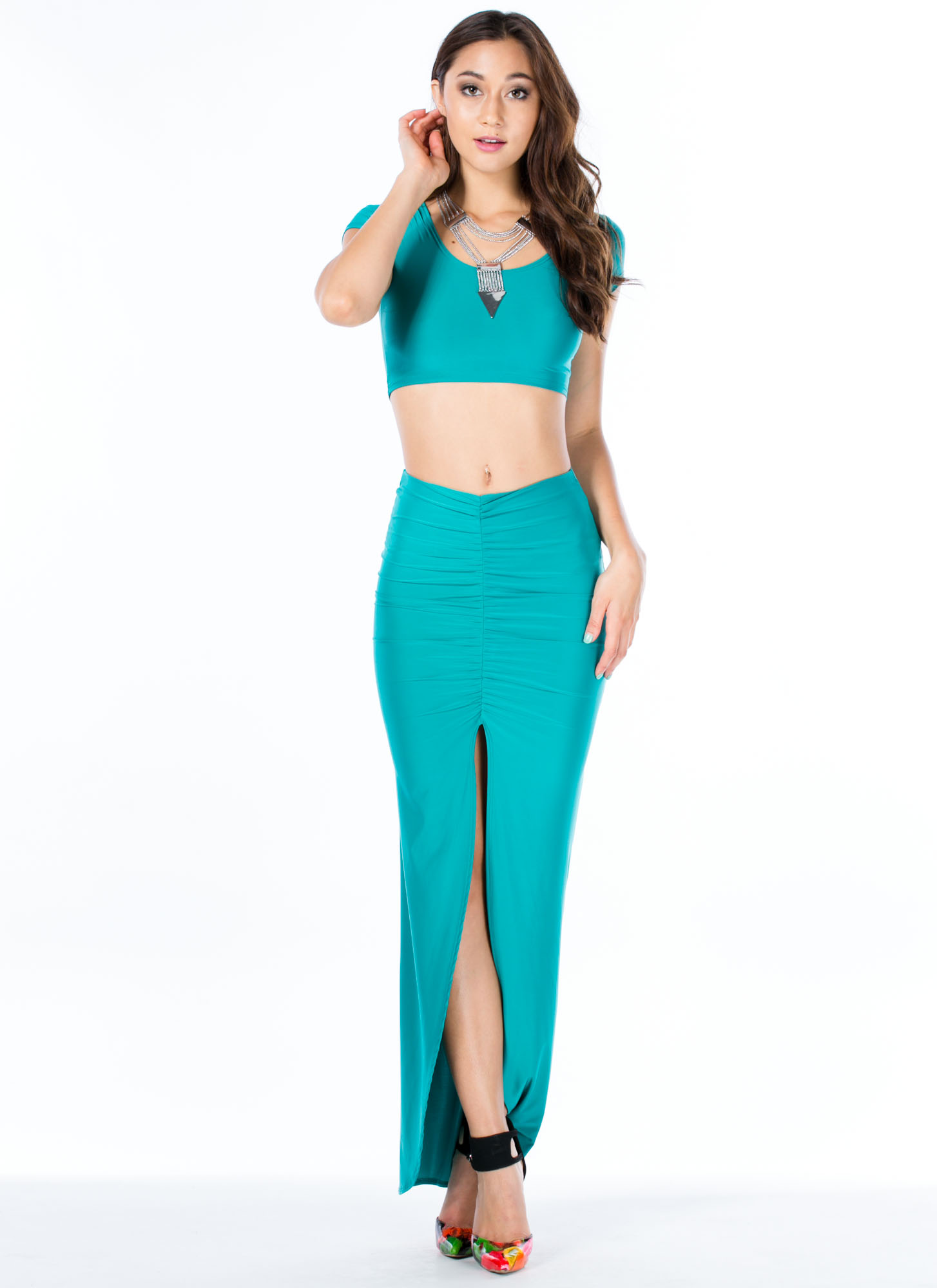 Sleek Attack Ruched Slit Maxi Skirt JADE