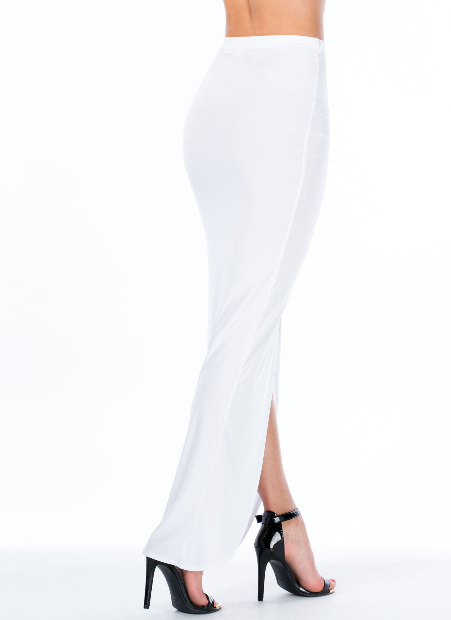 Sleek Attack Ruched Slit Maxi Skirt WHITE