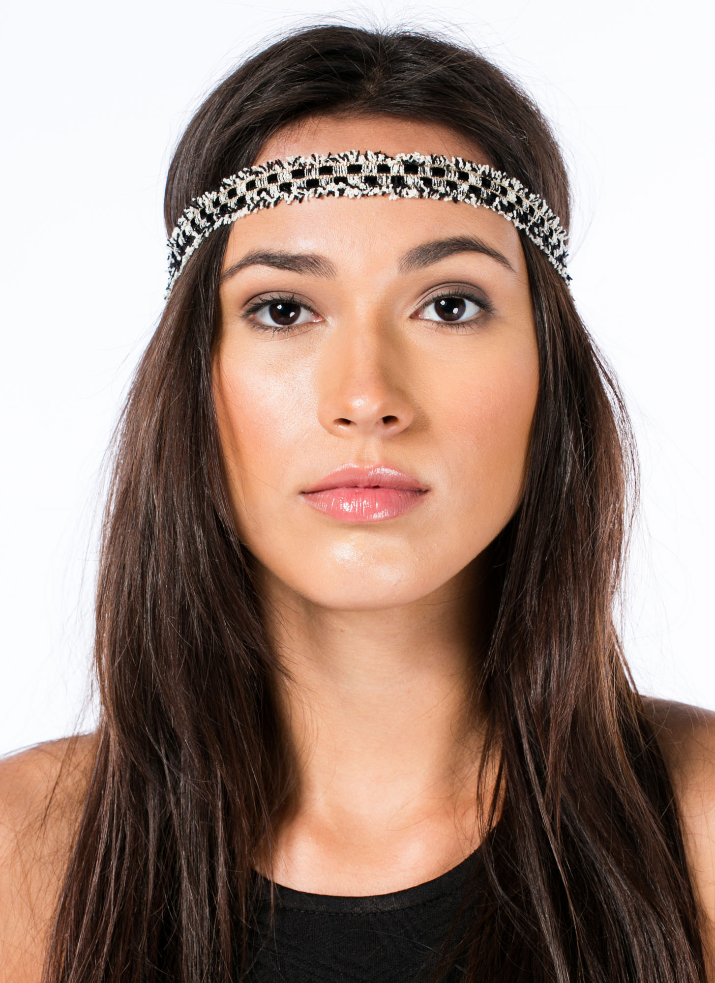 Woven Checkered Fringed Headband BLACKIVORY