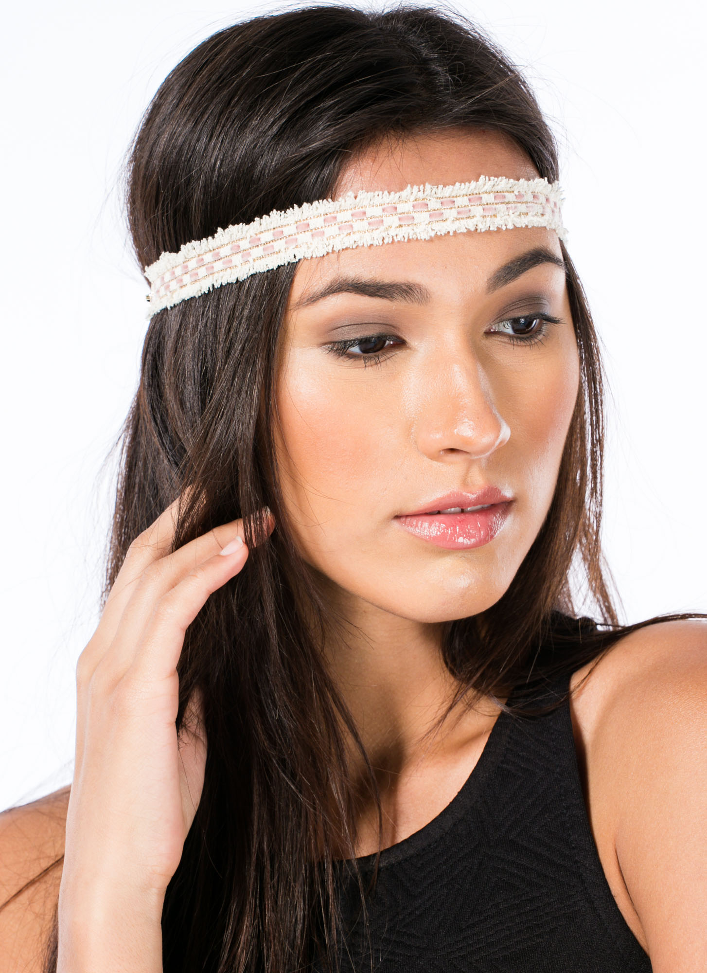 Woven Checkered Fringed Headband PINKIVORY