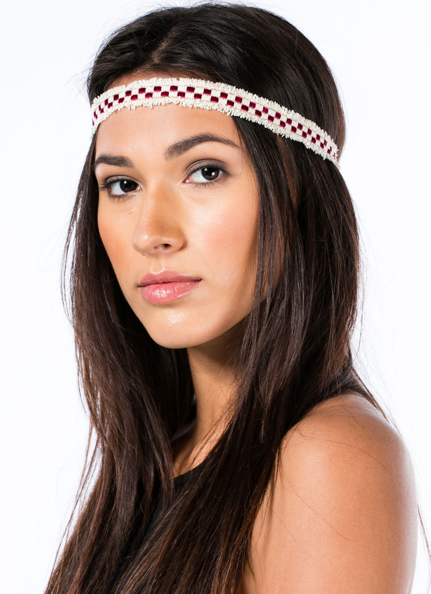 Woven Checkered Fringed Headband REDIVORY