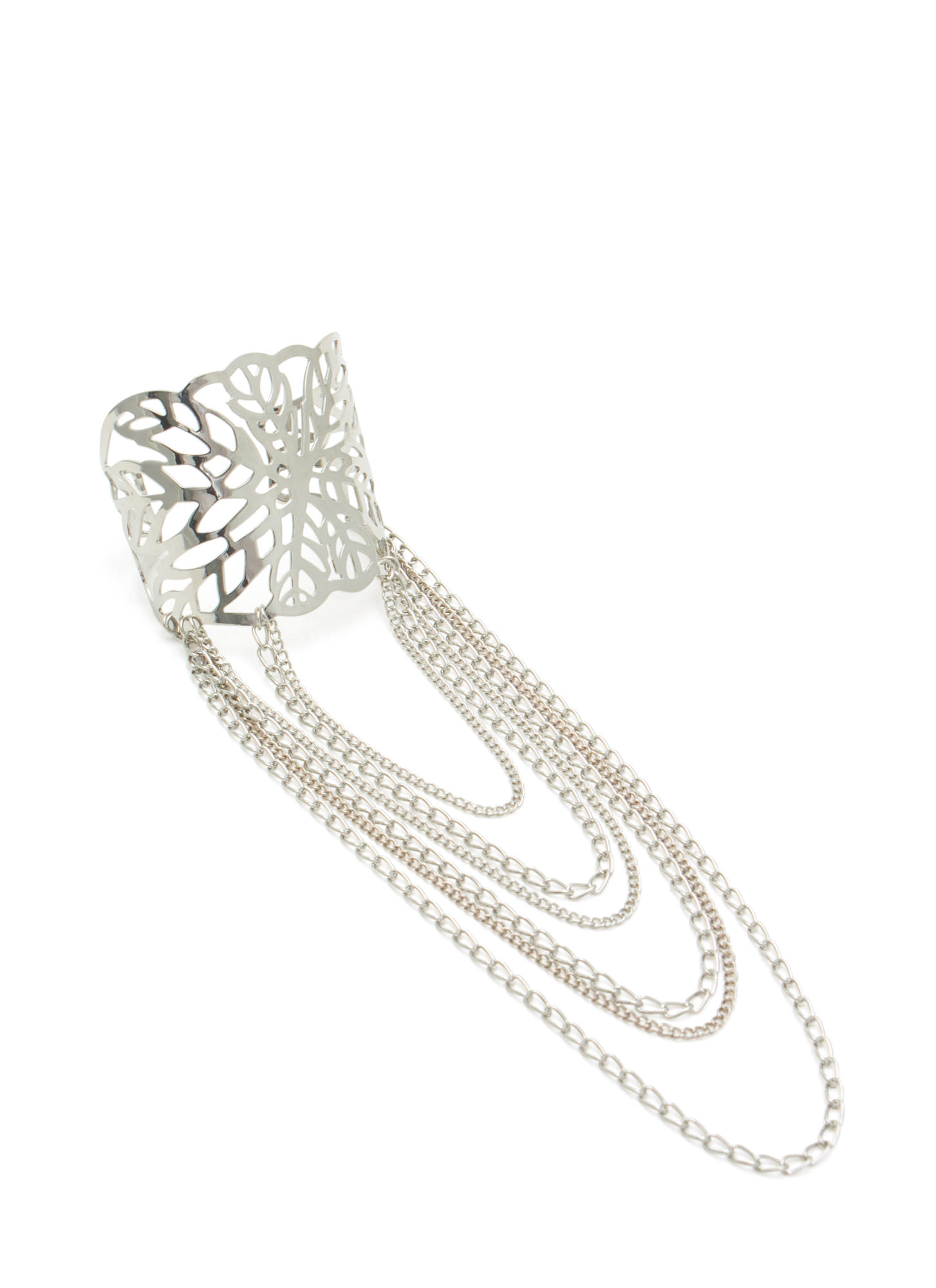 Leaf Cut-Out Draped Chain Cuff SILVER
