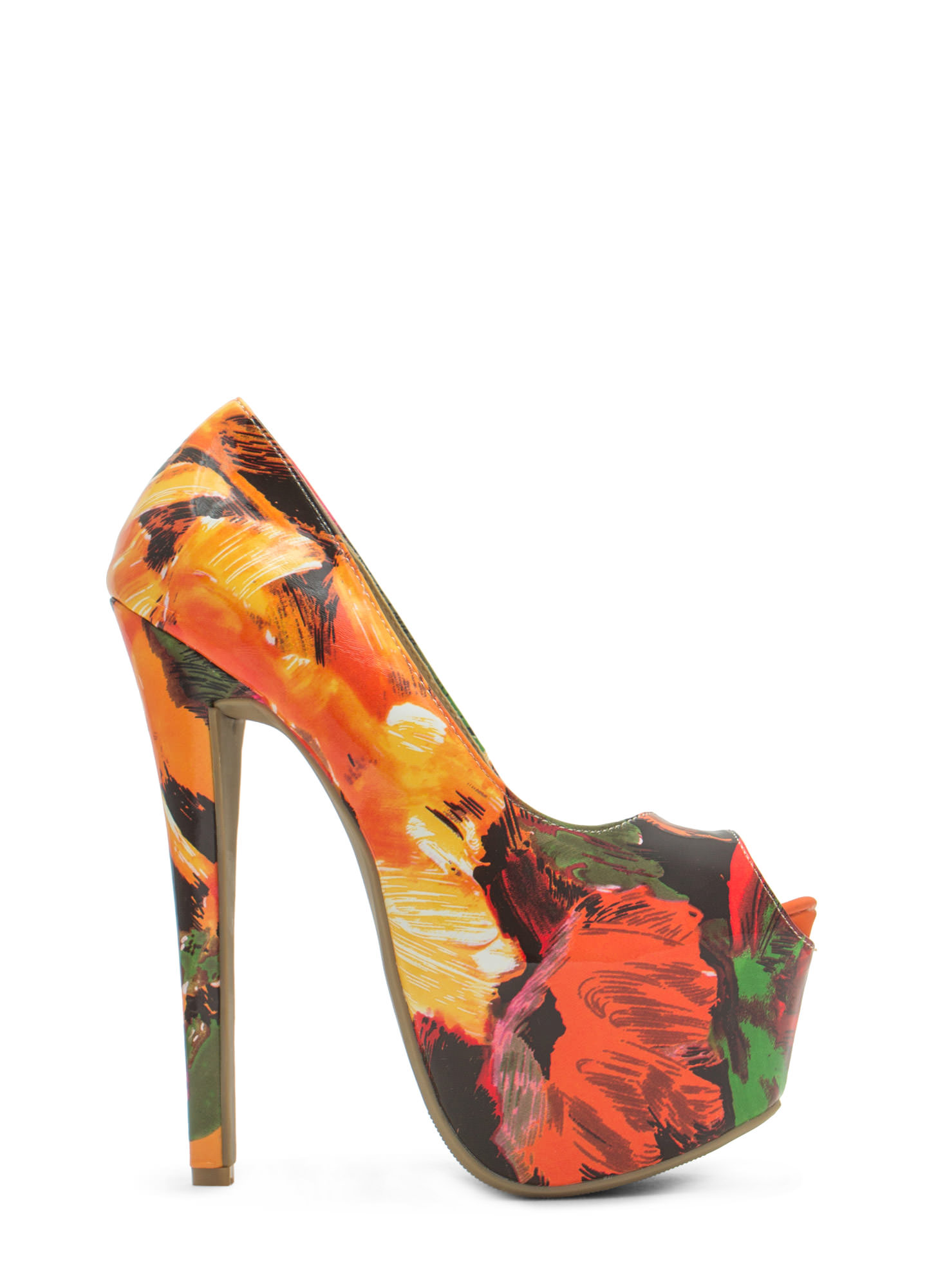 Abstract Masterpiece Platform Pumps ORANGE
