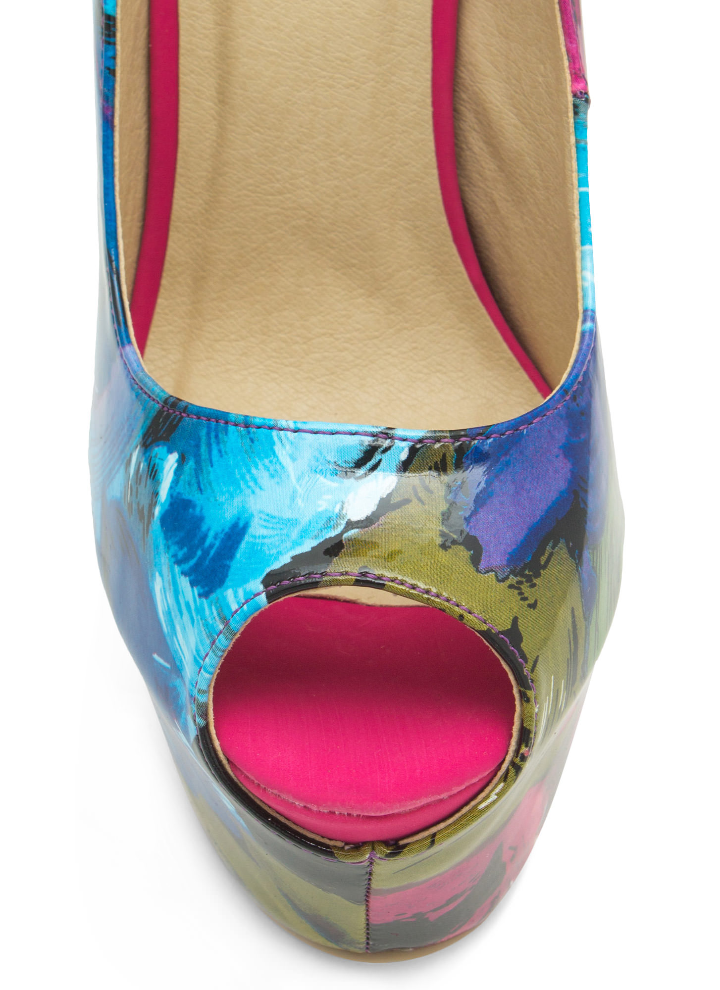 Abstract Masterpiece Platform Pumps PURPLE