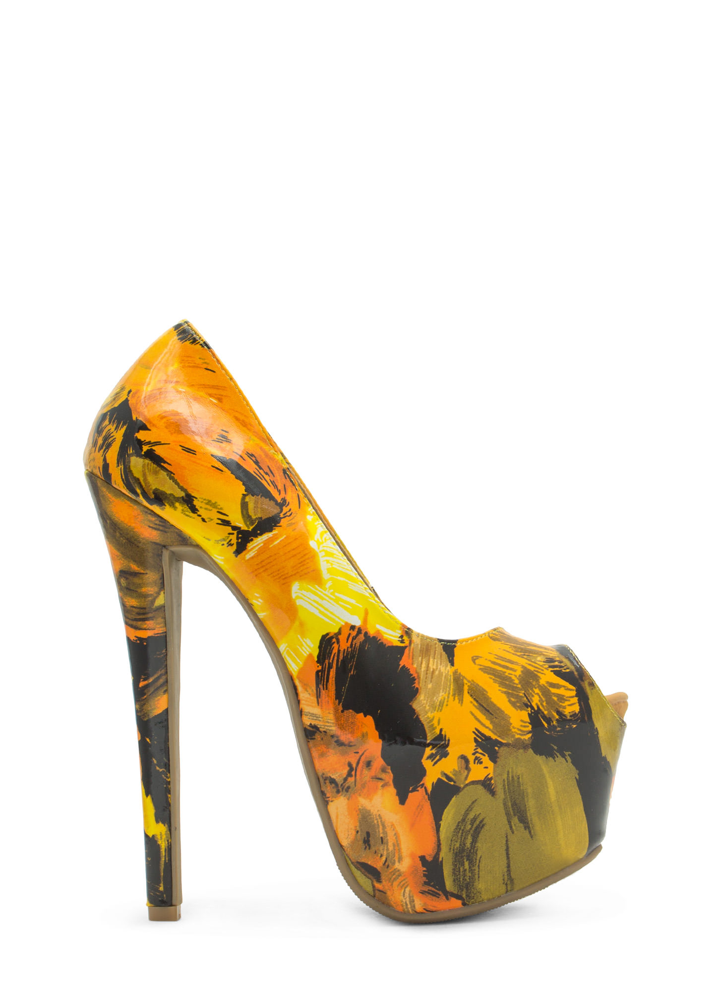 Abstract Masterpiece Platform Pumps YELLOW