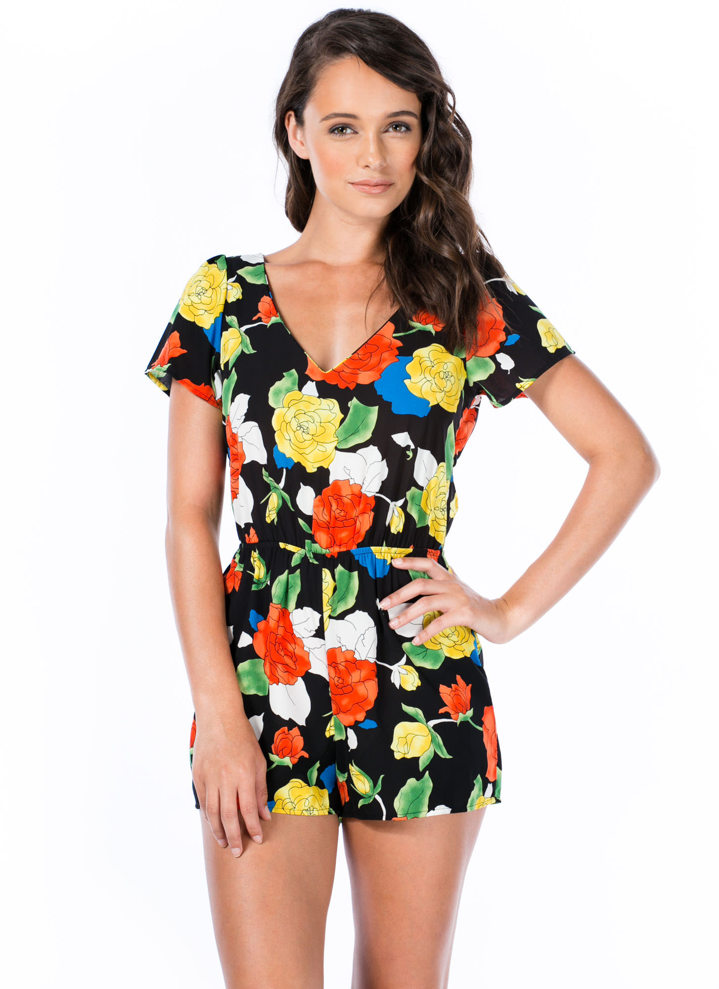 Outlined Roses Cut-Out Romper BLACK