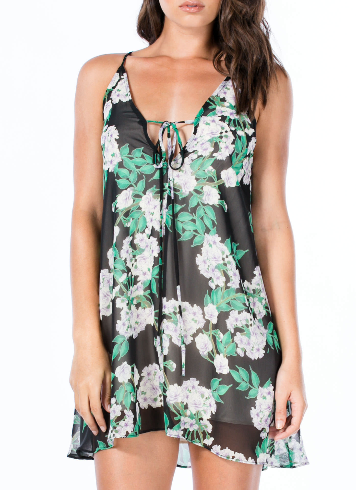 Leaf It To Me Floral Cami Shift Dress BLACKGREEN