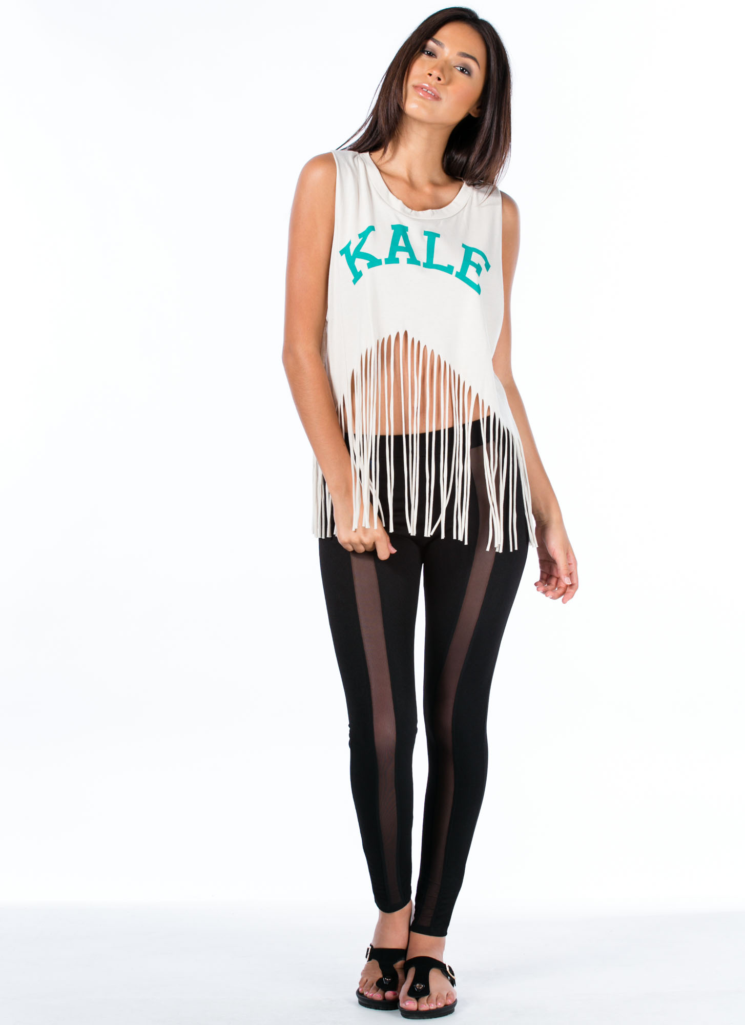Kale University Shredded Fringe Tank CREAM