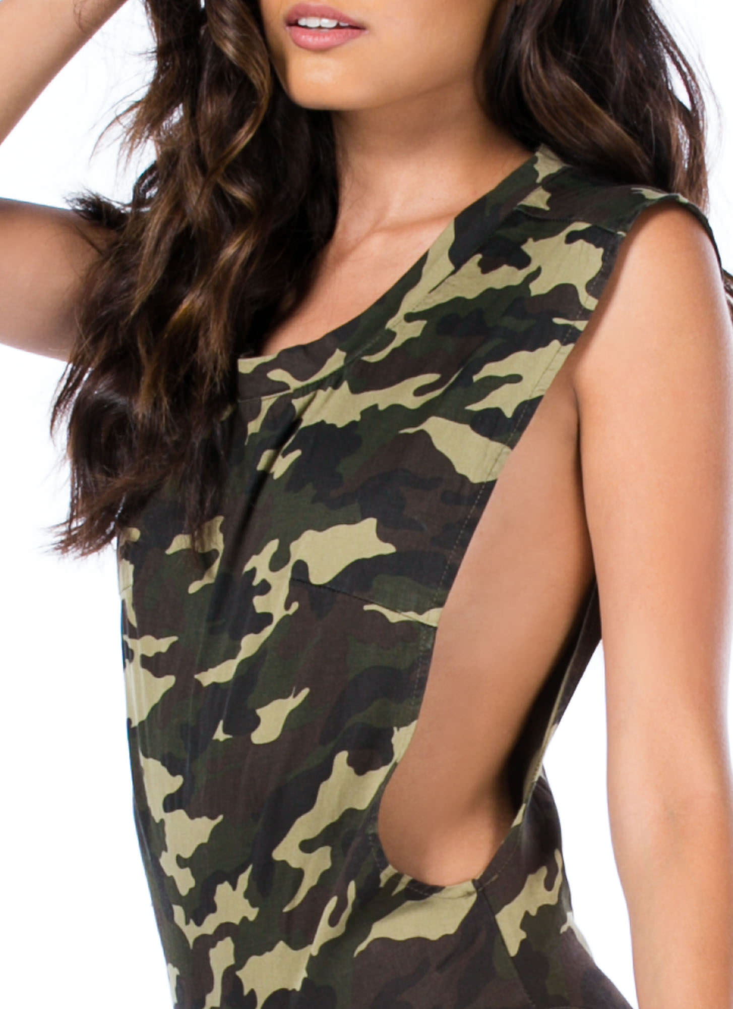 Camo A Long Way Muscle Bodysuit GREEN