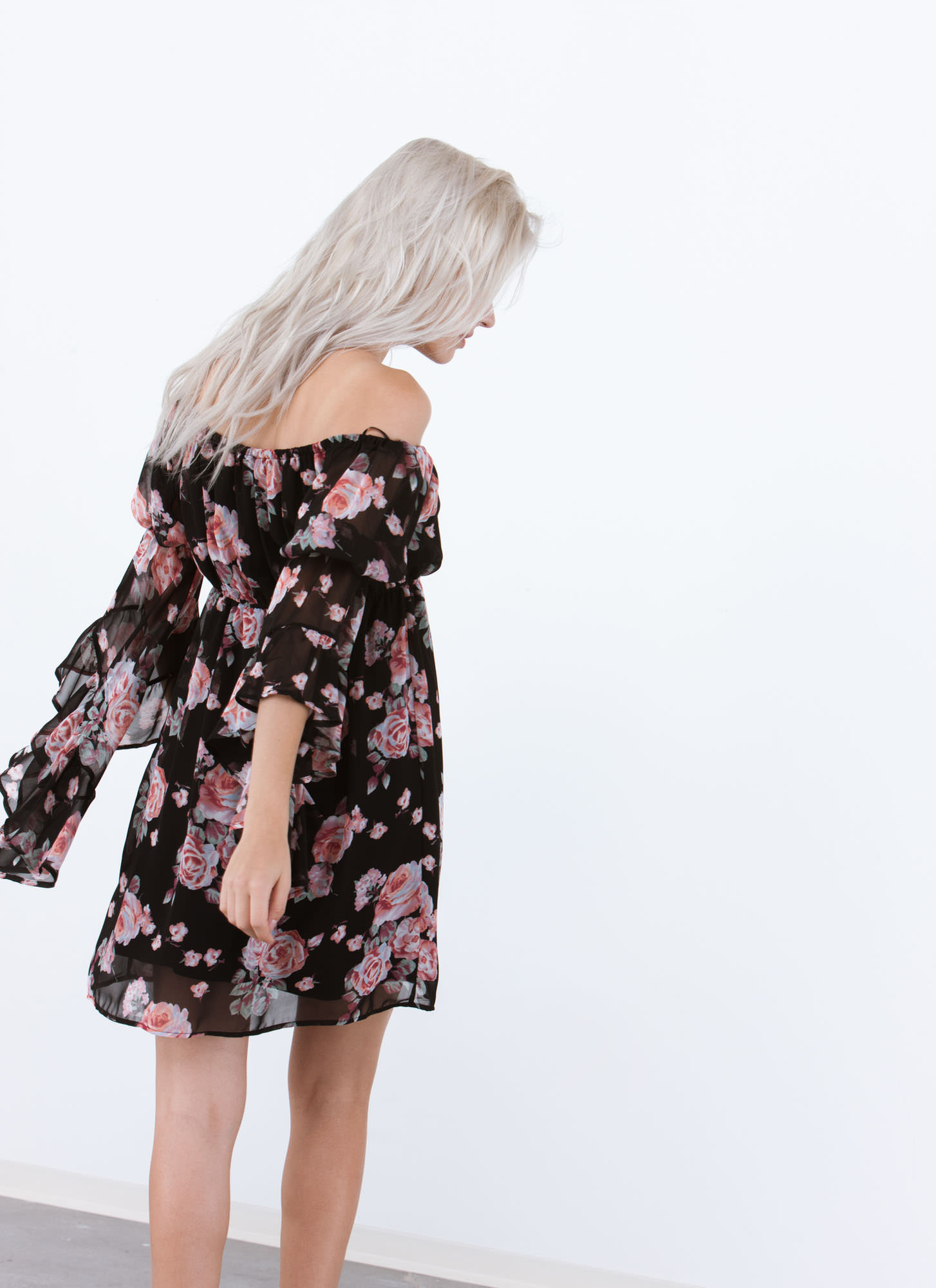So Romantic Floral Bell Sleeve Dress BLACK