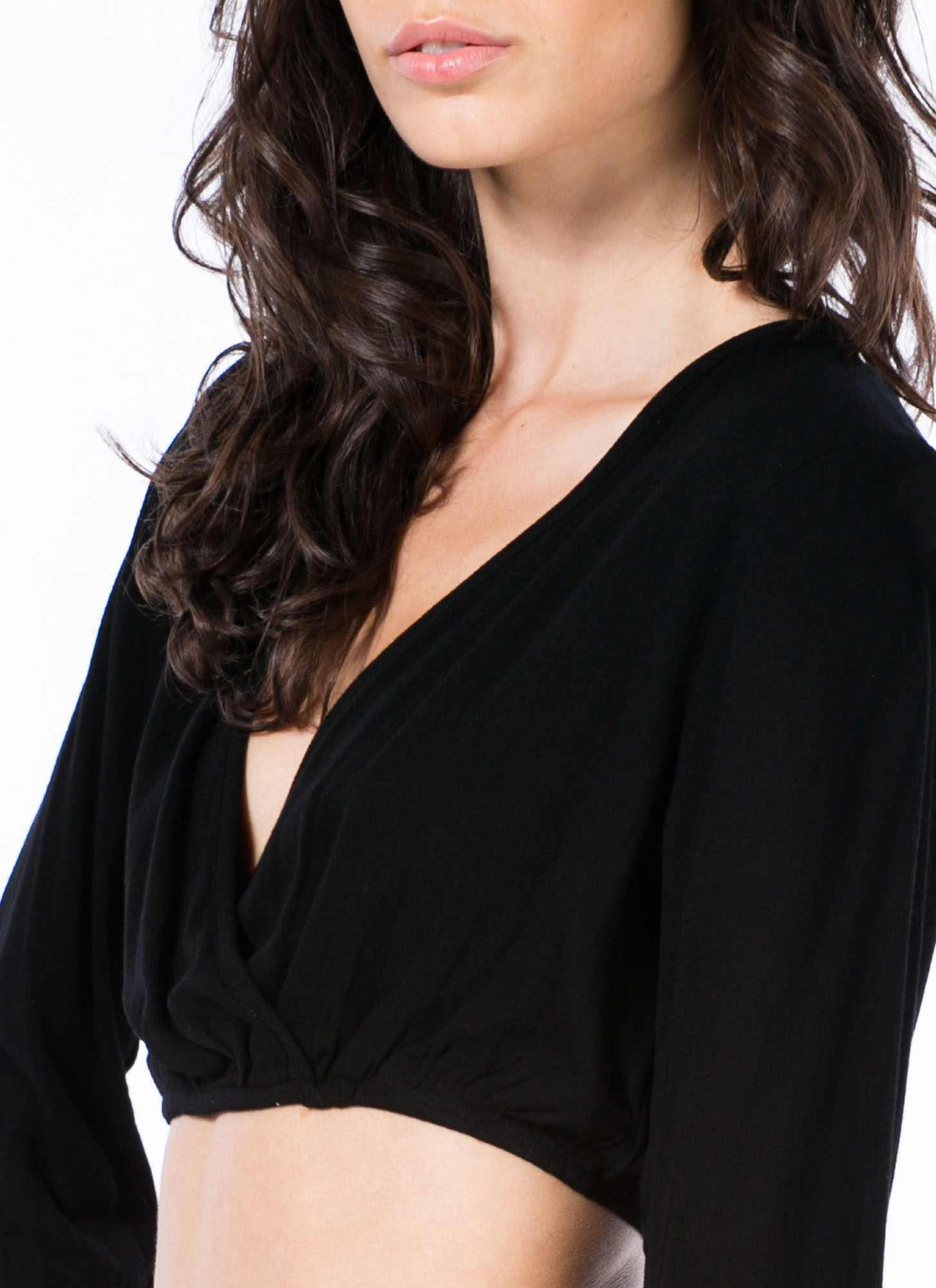 Saved By The Bell Sleeve Cropped Top BLACK
