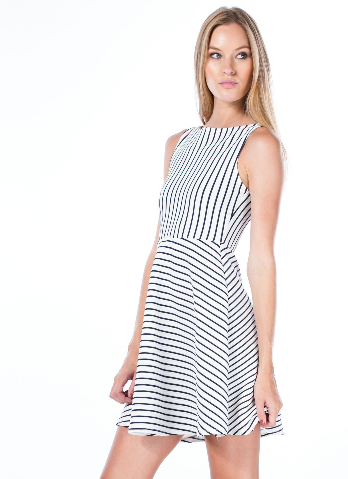 So Nauti Striped Skater Dress WHITE